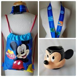 Disney Mickey Drawstring Backpack + Giant Lanyard